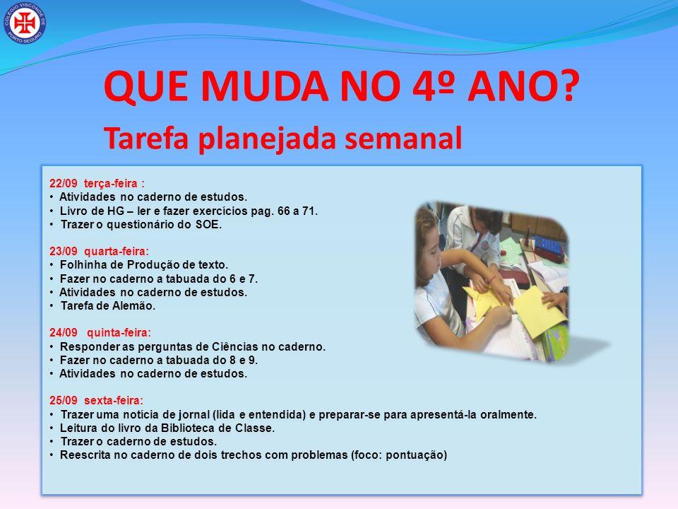 QUE MUDA NO 4º ANO Tarefa planejada semanal 22/09 terça-feira :