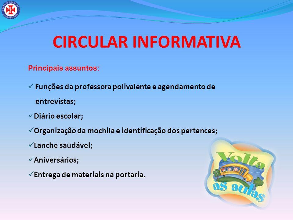 CIRCULAR INFORMATIVA entrevistas; Diário escolar;