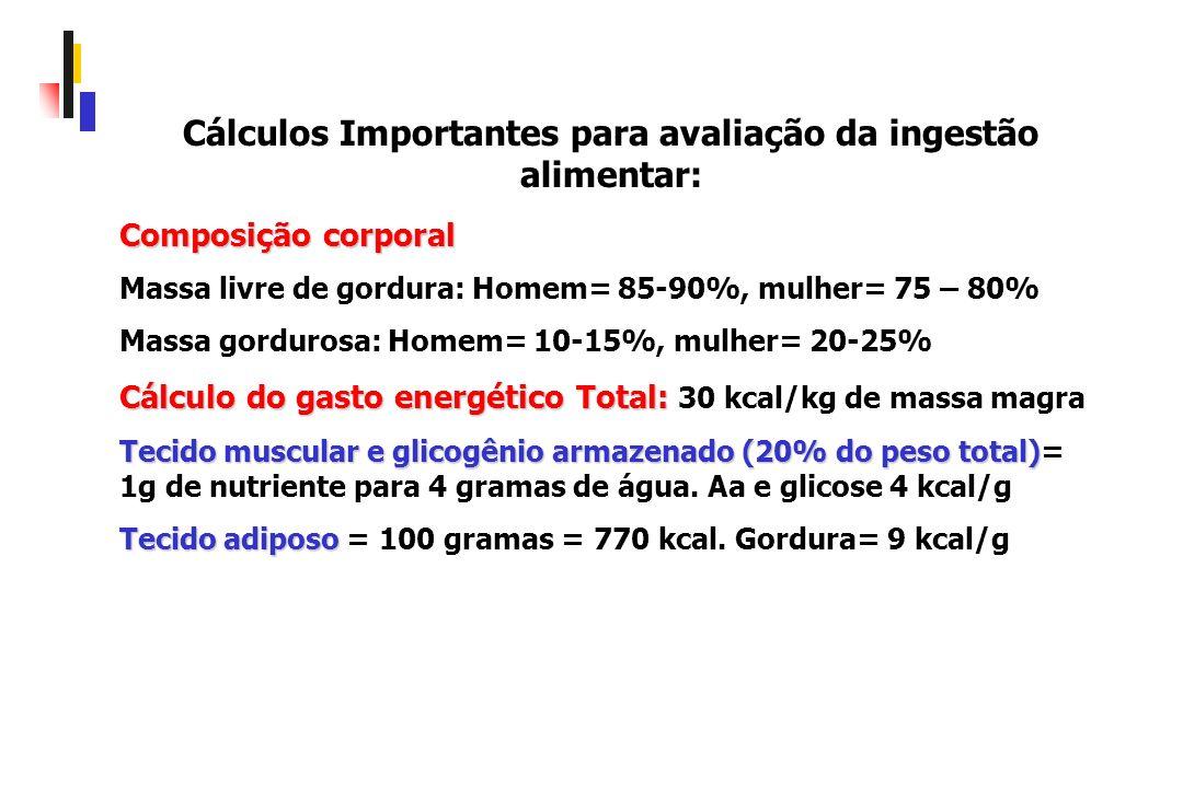 Cálculos Importantes para avaliação da ingestão alimentar:
