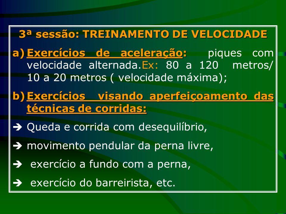 3ª sessão: TREINAMENTO DE VELOCIDADE