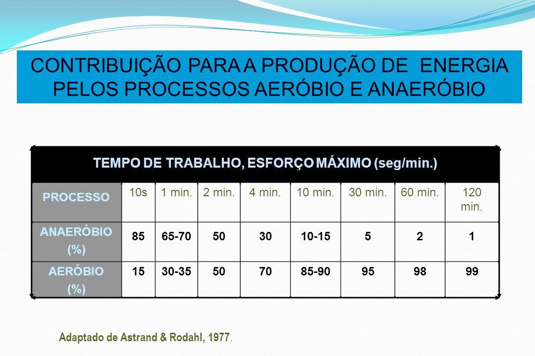 TEMPO DE TRABALHO, ESFORÇO MÁXIMO (seg/min.)