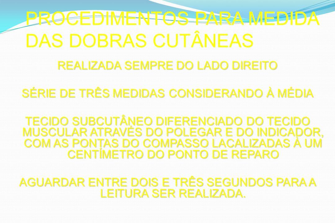 PROCEDIMENTOS PARA MEDIDA DAS DOBRAS CUTÂNEAS