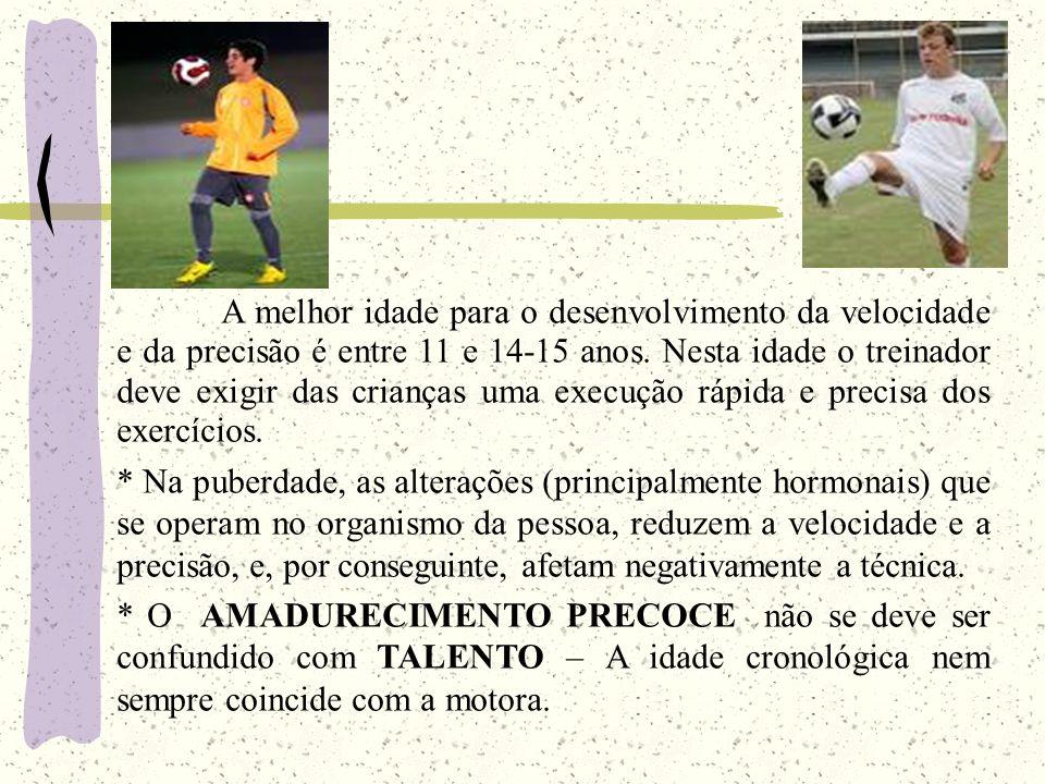 A melhor idade para o desenvolvimento da velocidade e da precisão é entre 11 e 14-15 anos. Nesta idade o treinador deve exigir das crianças uma execução rápida e precisa dos exercícios.