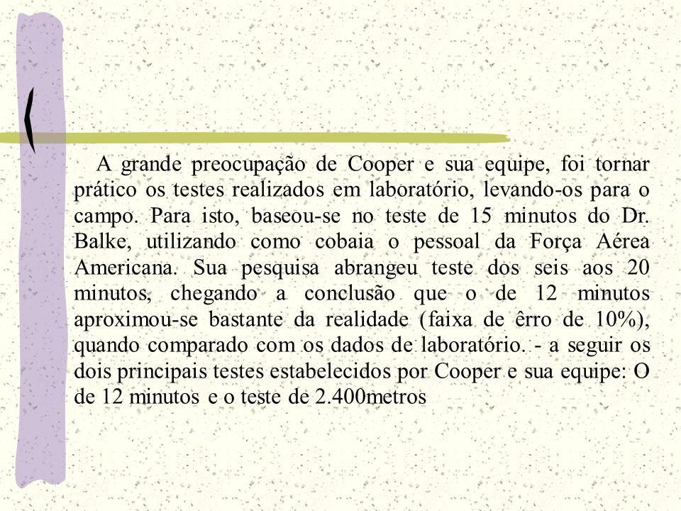 A grande preocupação de Cooper e sua equipe, foi tornar prático os testes realizados em laboratório, levando-os para o campo.