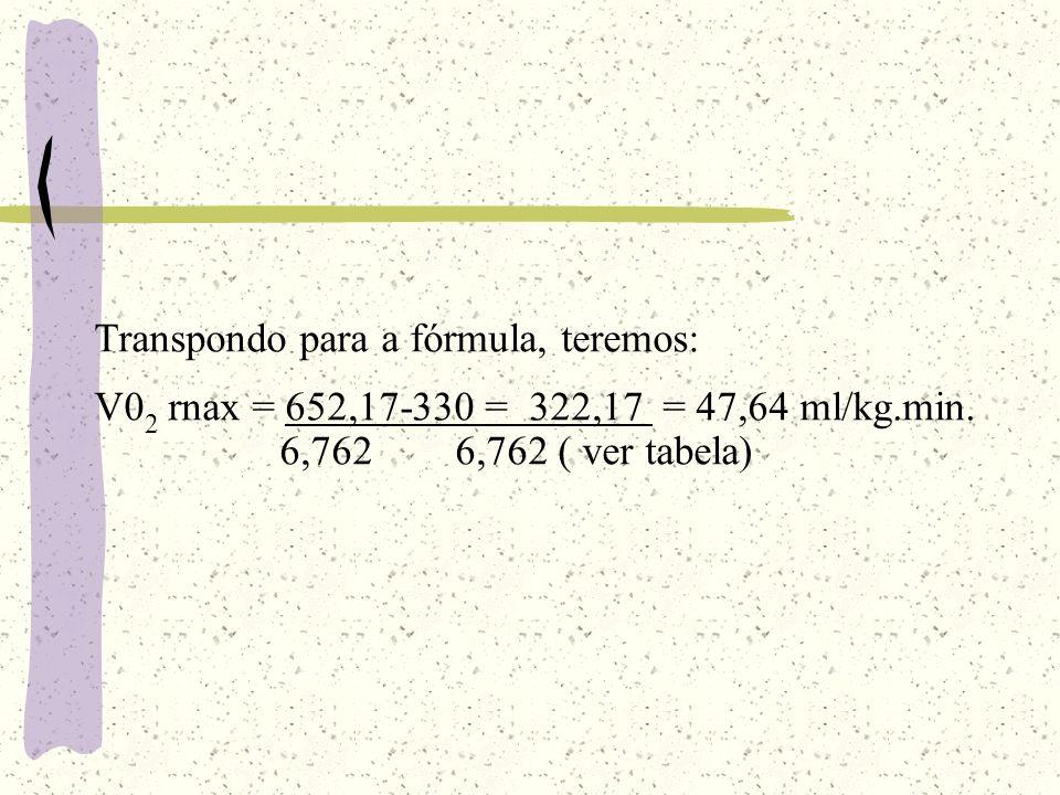 Transpondo para a fórmula, teremos: