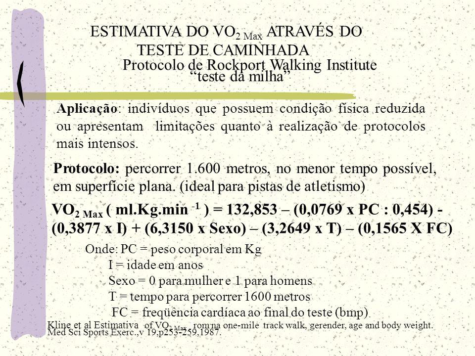 ESTIMATIVA DO VO2 Max ATRAVÉS DO TESTE DE CAMINHADA
