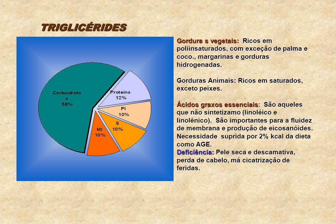 TRIGLICÉRIDES Gordura s vegetais: Ricos em poliinsaturados, com exceção de palma e coco., margarinas e gorduras hidrogenadas.