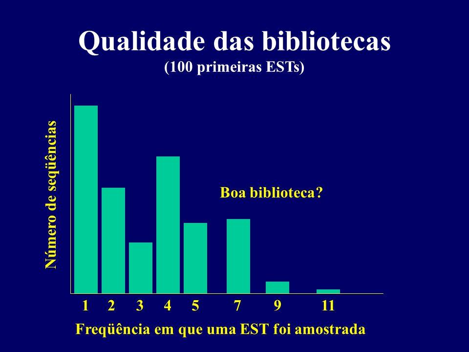Qualidade das bibliotecas (100 primeiras ESTs)