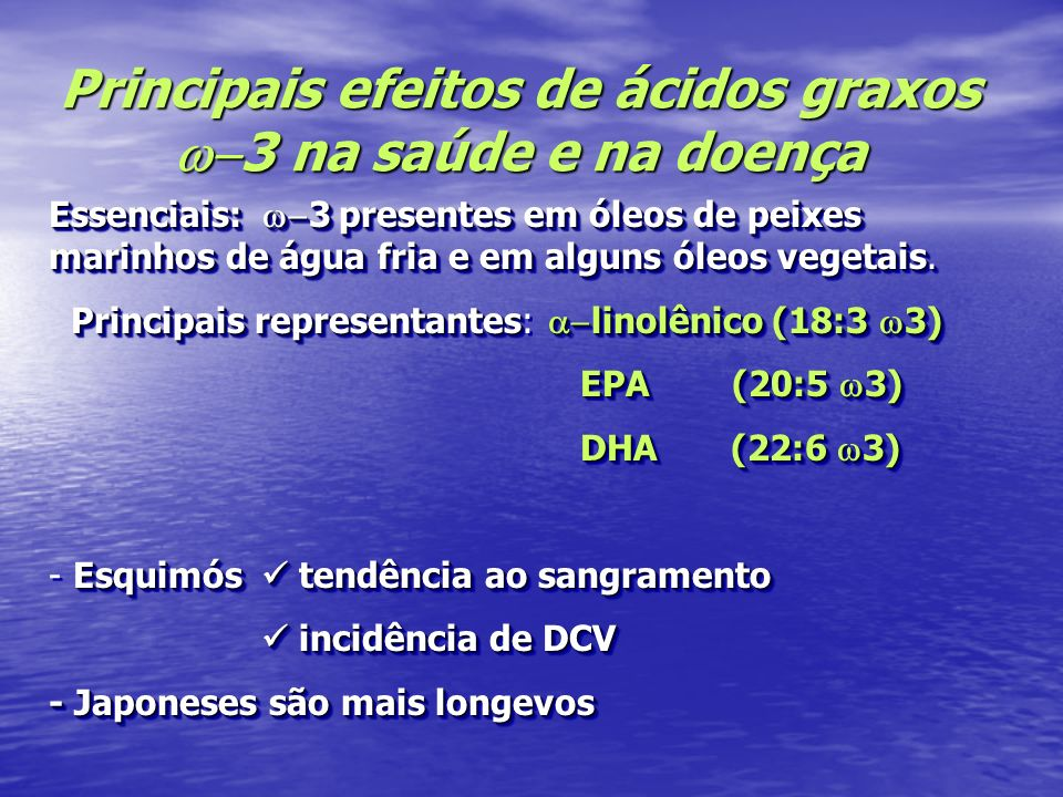 Principais efeitos de ácidos graxos w-3 na saúde e na doença
