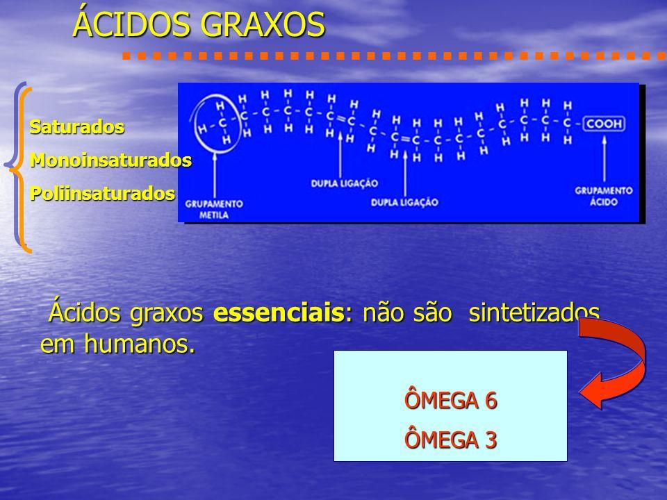 ÁCIDOS GRAXOS Saturados. Monoinsaturados. Poliinsaturados. Ácidos graxos essenciais: não são sintetizados em humanos.