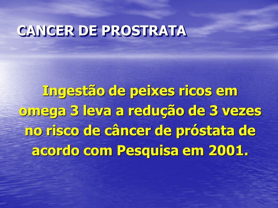 CANCER DE PROSTRATA Ingestão de peixes ricos em omega 3 leva a redução de 3 vezes no risco de câncer de próstata de acordo com Pesquisa em 2001.