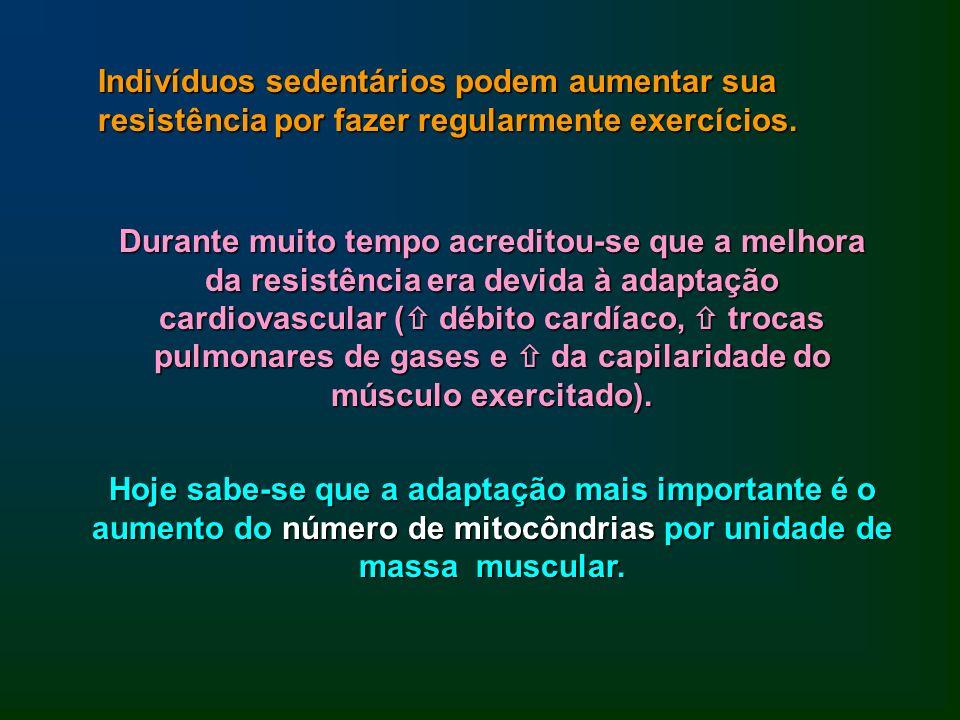 Indivíduos sedentários podem aumentar sua resistência por fazer regularmente exercícios.