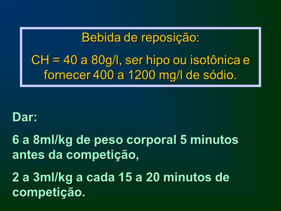 Bebida de reposição: CH = 40 a 80g/l, ser hipo ou isotônica e fornecer 400 a 1200 mg/l de sódio. Dar: