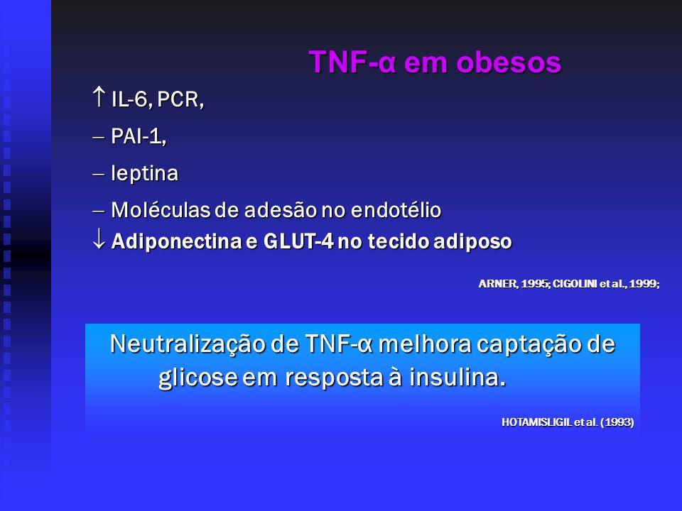TNF-α em obesos  IL-6, PCR, PAI-1, leptina. Moléculas de adesão no endotélio.  Adiponectina e GLUT-4 no tecido adiposo.
