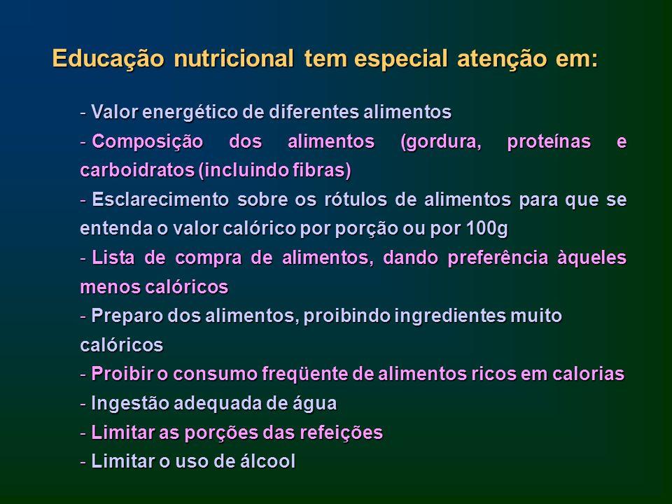 Educação nutricional tem especial atenção em: