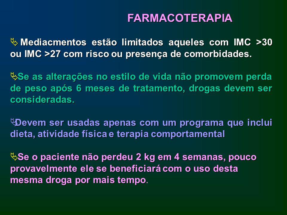 FARMACOTERAPIA Mediacmentos estão limitados aqueles com IMC >30 ou IMC >27 com risco ou presença de comorbidades.