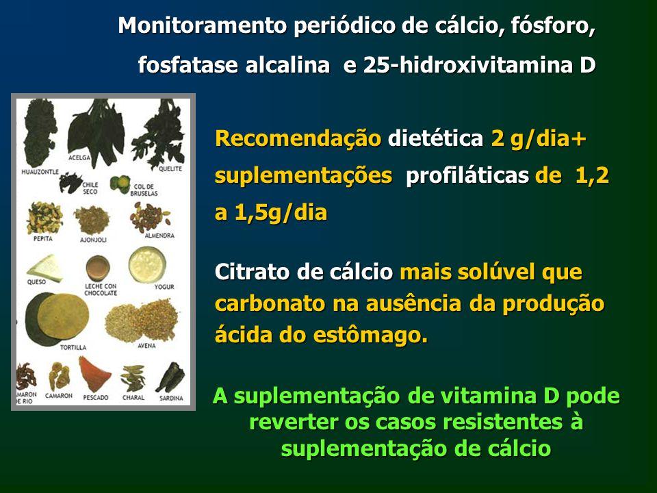 Monitoramento periódico de cálcio, fósforo, fosfatase alcalina e 25-hidroxivitamina D