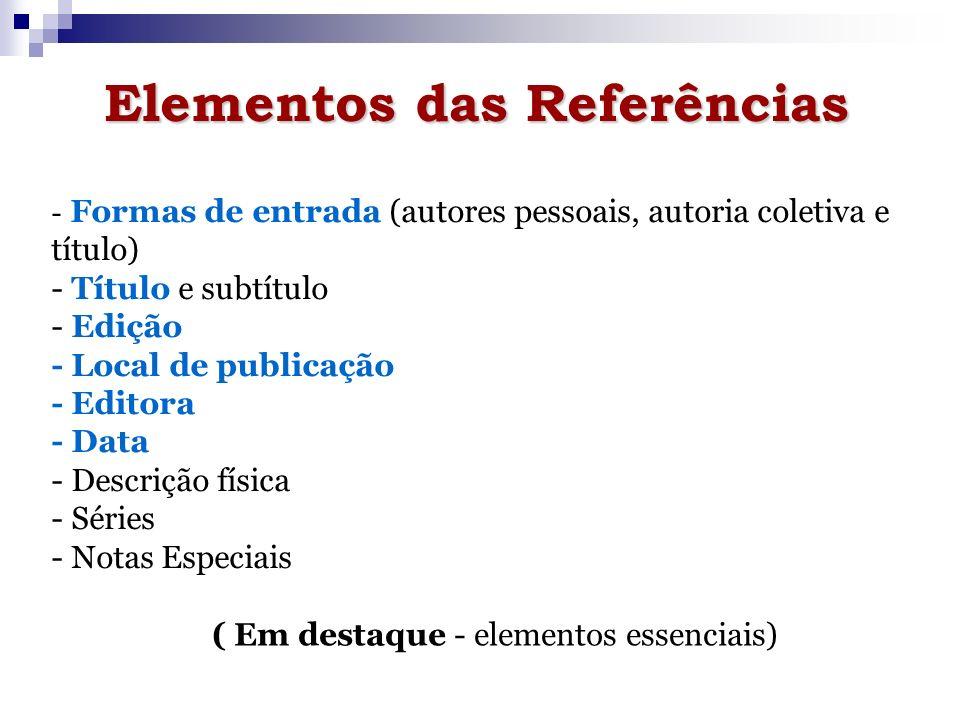 Elementos das Referências