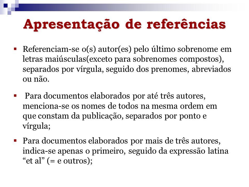 Apresentação de referências