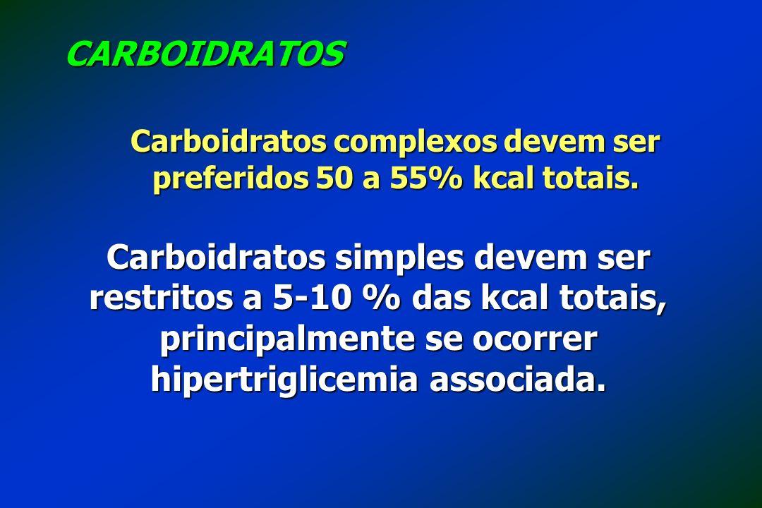 Carboidratos complexos devem ser preferidos 50 a 55% kcal totais.