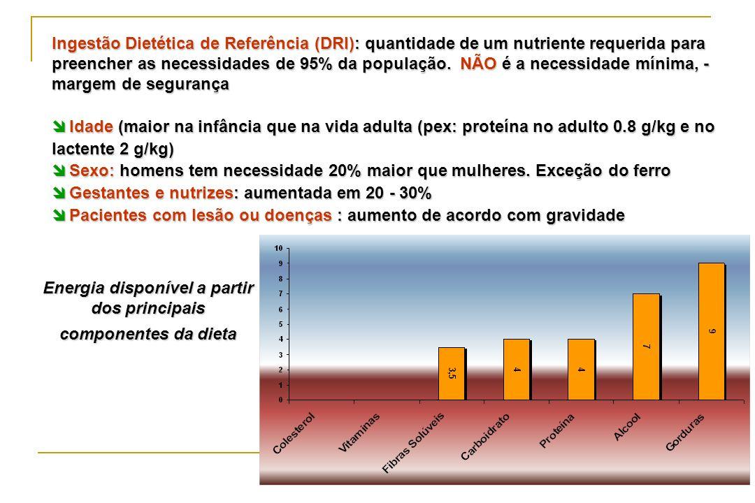 Energia disponível a partir dos principais componentes da dieta