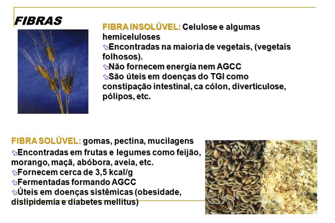 FIBRAS FIBRA INSOLÚVEL: Celulose e algumas hemiceluloses