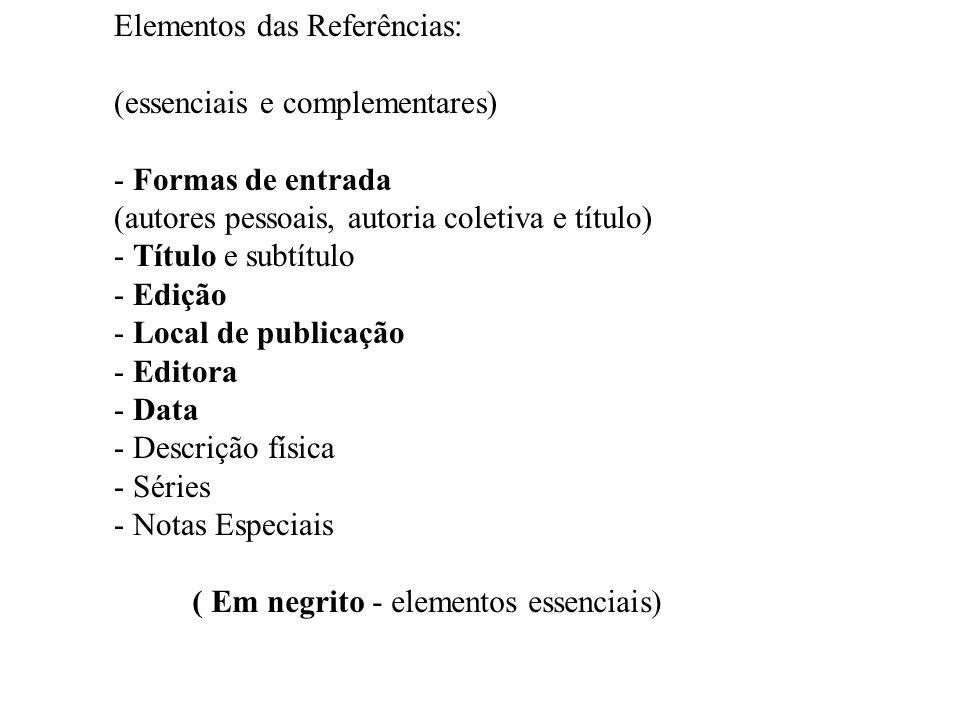 Elementos das Referências: