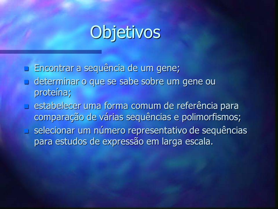 Objetivos Encontrar a sequência de um gene;