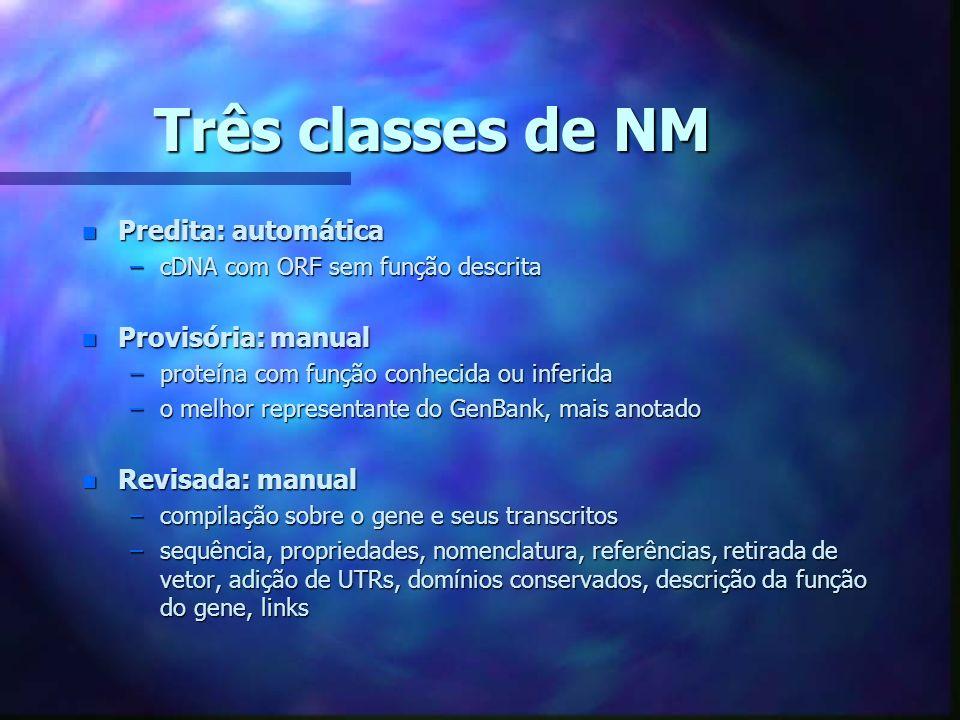 Três classes de NM Predita: automática Provisória: manual