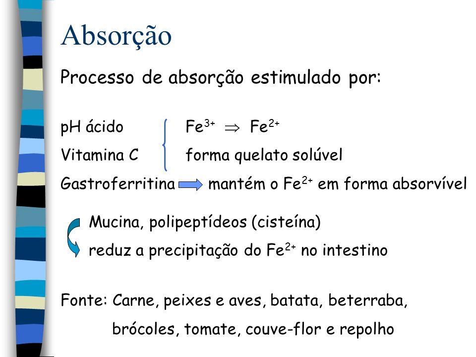 Absorção Processo de absorção estimulado por: pH ácido Fe3+  Fe2+