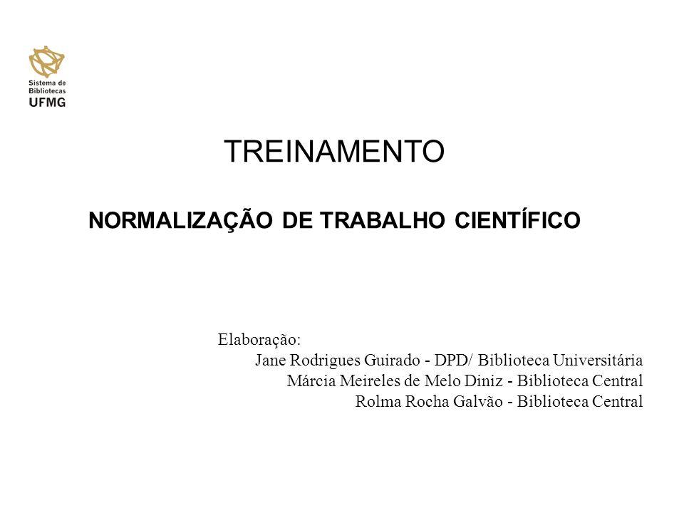 NORMALIZAÇÃO DE TRABALHO CIENTÍFICO