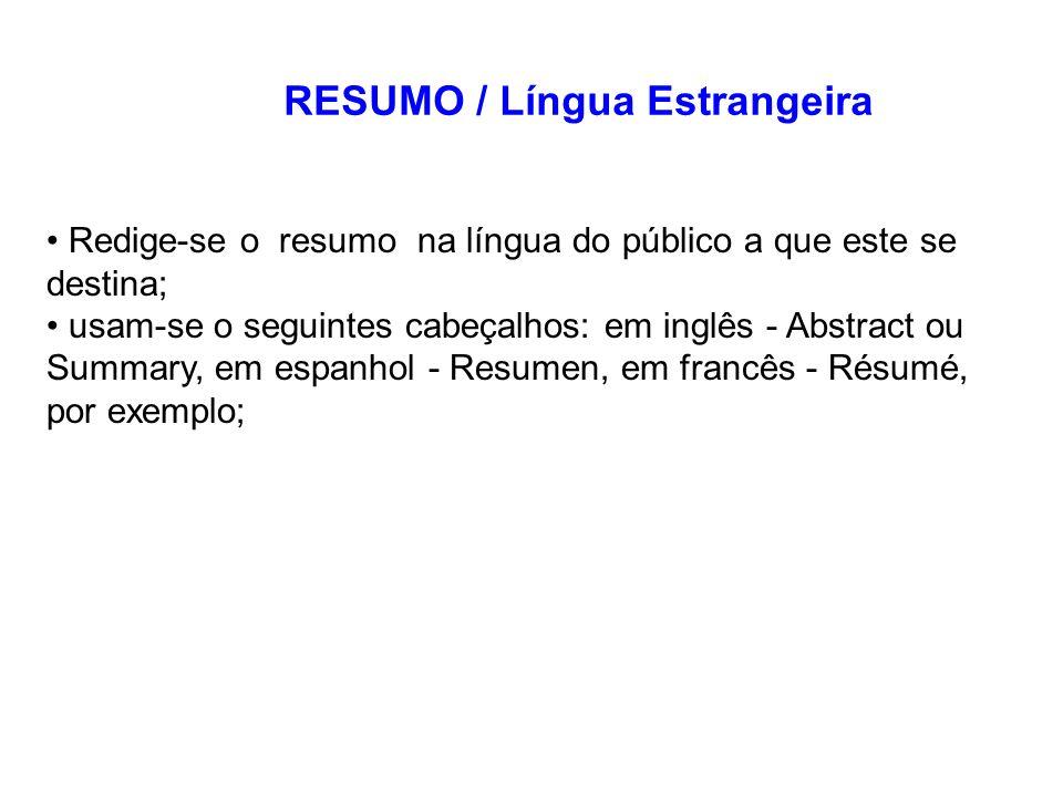RESUMO / Língua Estrangeira