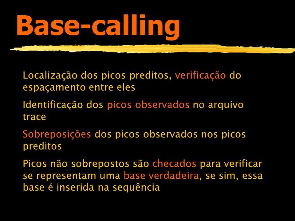 Base-calling Localização dos picos preditos, verificação do espaçamento entre eles. Identificação dos picos observados no arquivo trace.
