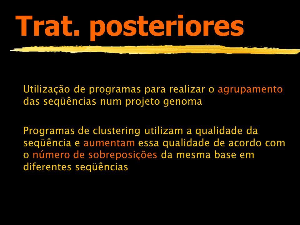 Trat. posterioresUtilização de programas para realizar o agrupamento das seqüências num projeto genoma.