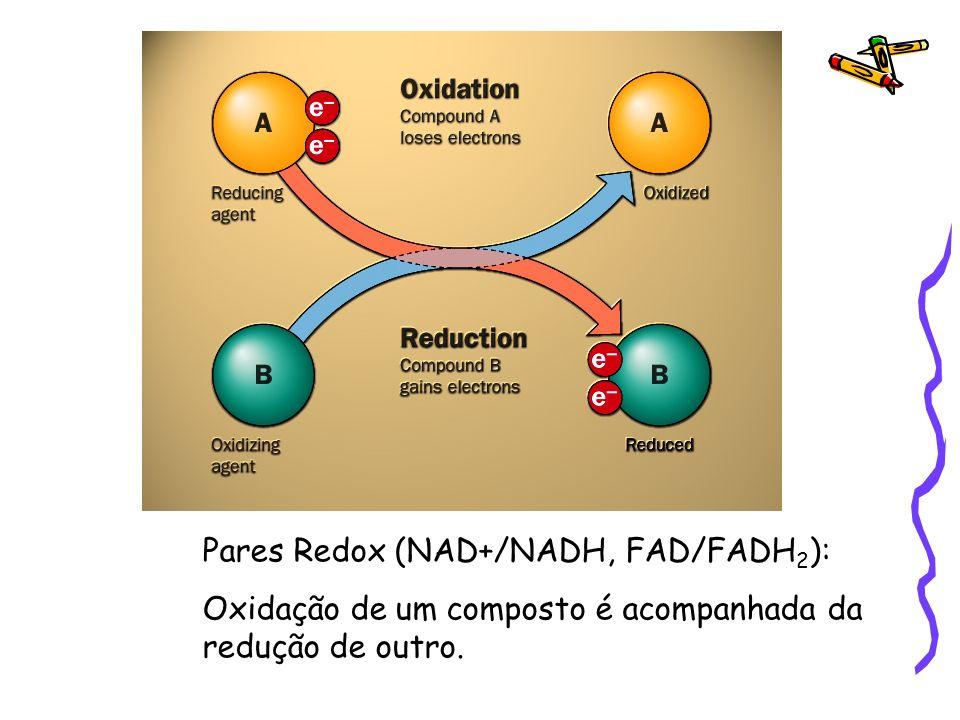 Pares Redox (NAD+/NADH, FAD/FADH2):