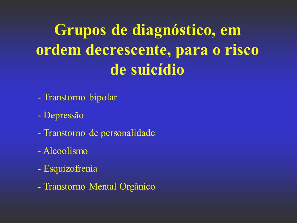 Grupos de diagnóstico, em ordem decrescente, para o risco de suicídio