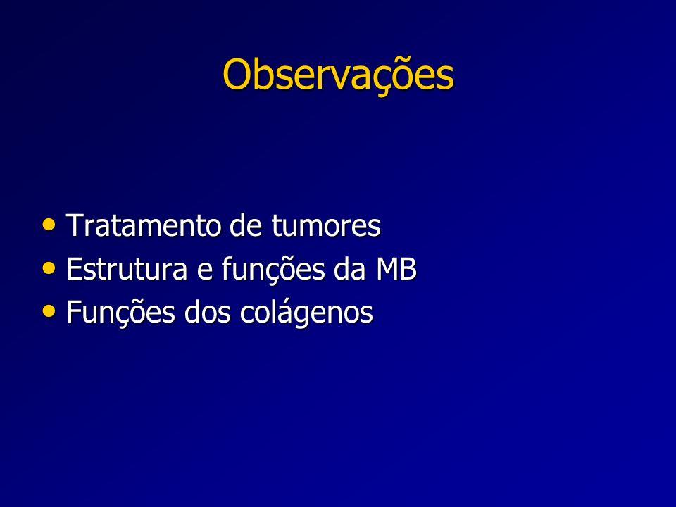 Observações Tratamento de tumores Estrutura e funções da MB