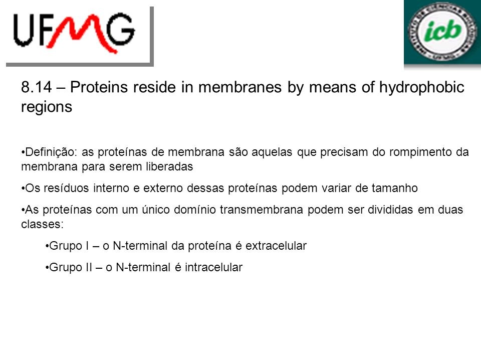 8.14 – Proteins reside in membranes by means of hydrophobic regions