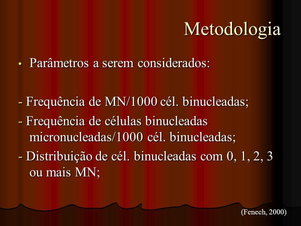 Metodologia Parâmetros a serem considerados: