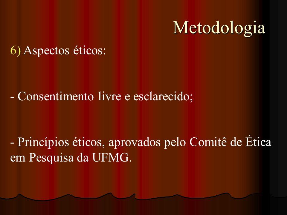 Metodologia 6) Aspectos éticos: Consentimento livre e esclarecido;