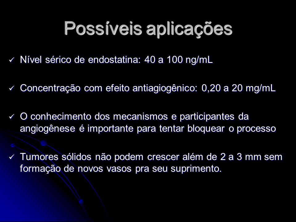 Possíveis aplicações Nível sérico de endostatina: 40 a 100 ng/mL