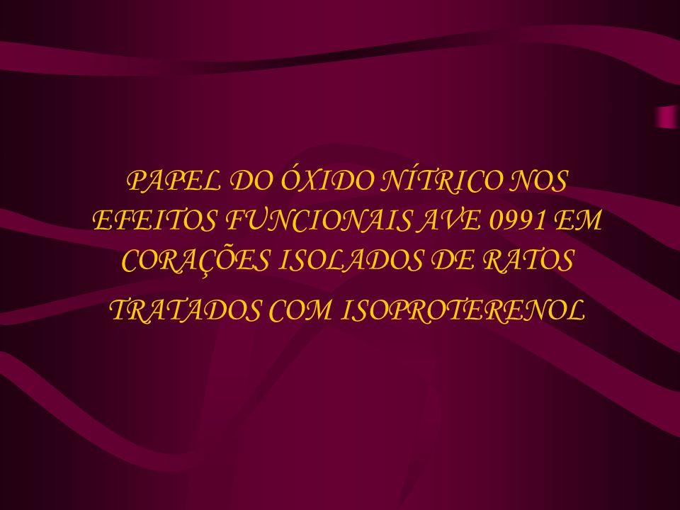 PAPEL DO ÓXIDO NÍTRICO NOS EFEITOS FUNCIONAIS AVE 0991 EM CORAÇÕES ISOLADOS DE RATOS TRATADOS COM ISOPROTERENOL