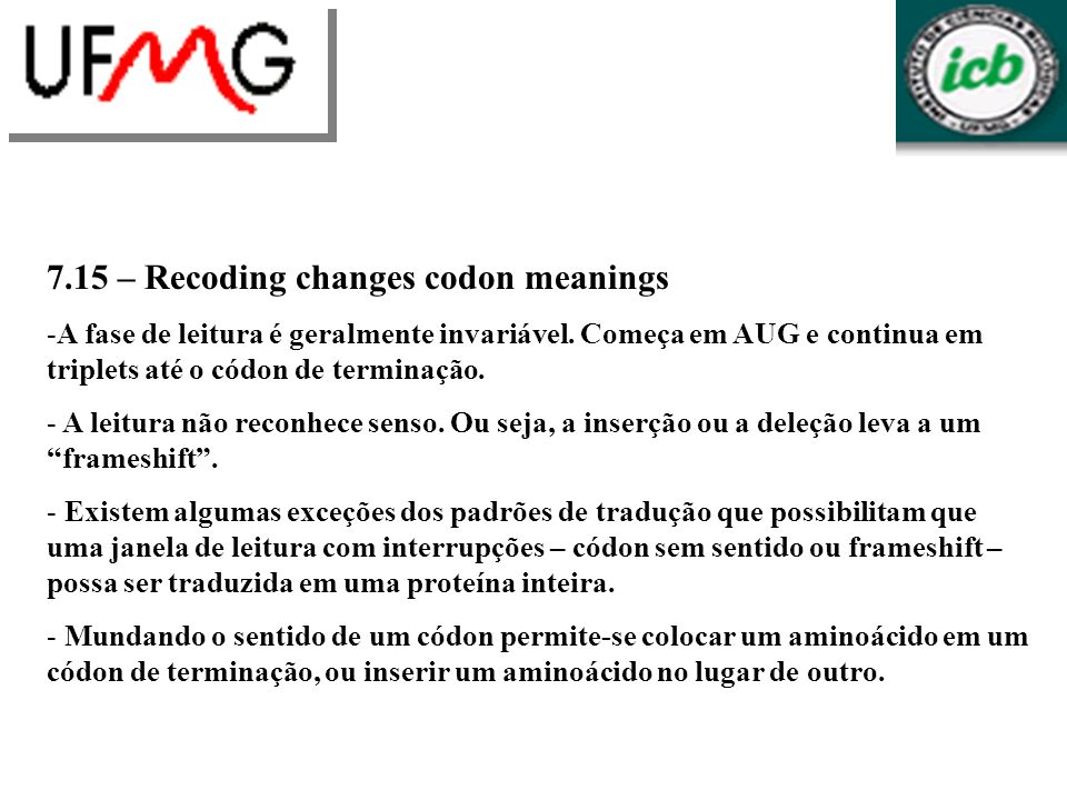 7.15 – Recoding changes codon meanings