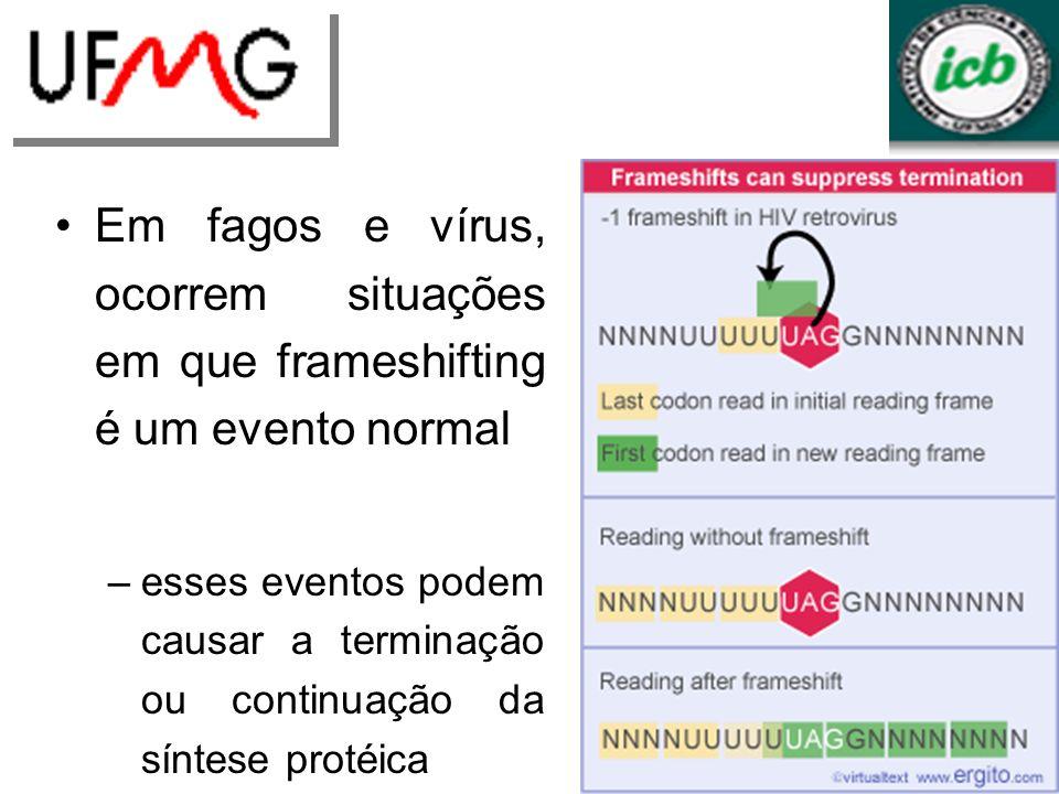Em fagos e vírus, ocorrem situações em que frameshifting é um evento normal