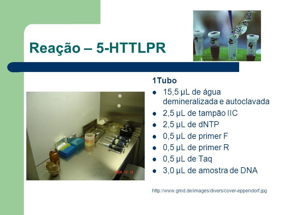 Reação – 5-HTTLPR 1Tubo 15,5 μL de água demineralizada e autoclavada