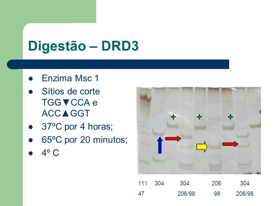 Digestão – DRD3 Enzima Msc 1 Sítios de corte TGG▼CCA e ACC▲GGT