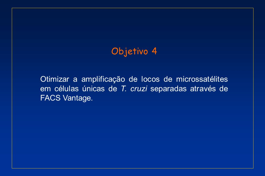 Objetivo 4Otimizar a amplificação de locos de microssatélites em células únicas de T.