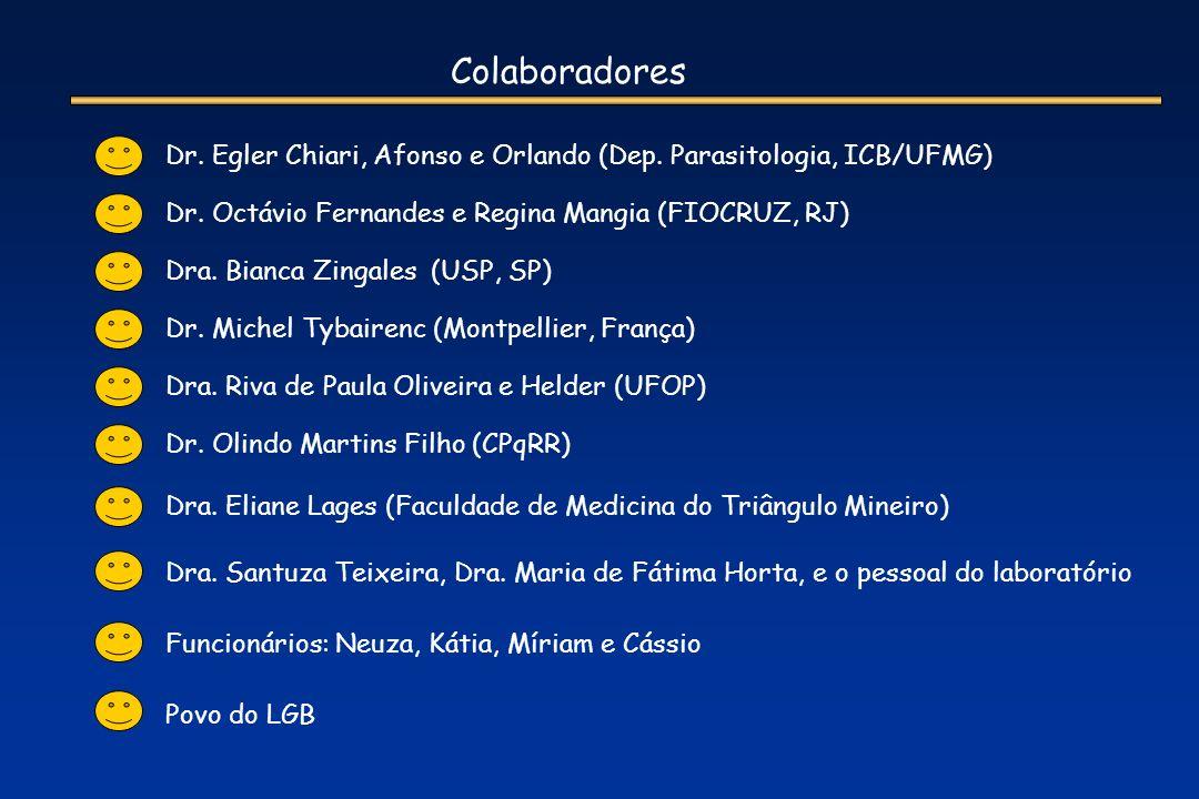 Colaboradores Dr. Egler Chiari, Afonso e Orlando (Dep. Parasitologia, ICB/UFMG) Dr. Octávio Fernandes e Regina Mangia (FIOCRUZ, RJ)