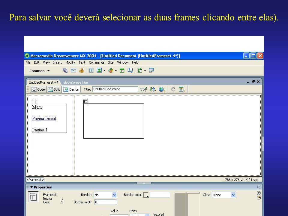 Para salvar você deverá selecionar as duas frames clicando entre elas).