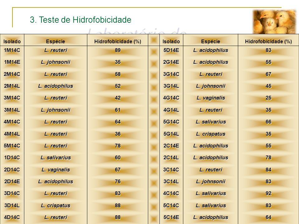 3. Teste de Hidrofobicidade